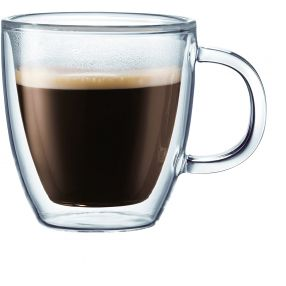 Bodum Bistro 5 oz. Double Wall Glass Mugs
