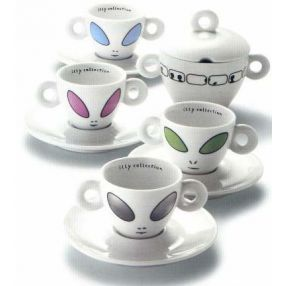 David Byrne 2001 Alien Set of 4 Espresso Cups