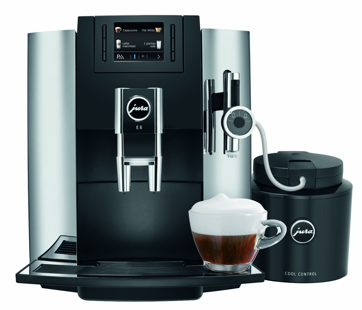 jura e8 chrome jura e8 espresso machine 1st in coffee. Black Bedroom Furniture Sets. Home Design Ideas