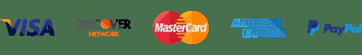 Visa | Discover | Mastercard | American Express | PayPal